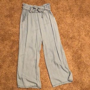 Baby blue, tie waist, wide leg pants
